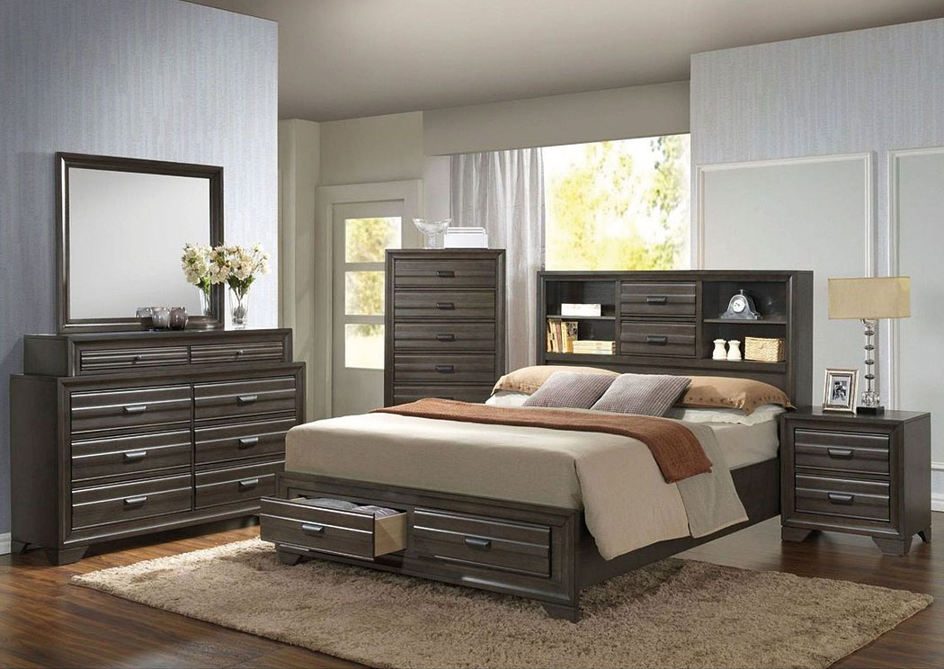Bowie Queen Storage Bed W/ Dresser, And Mirror,ABF ECircular Specials