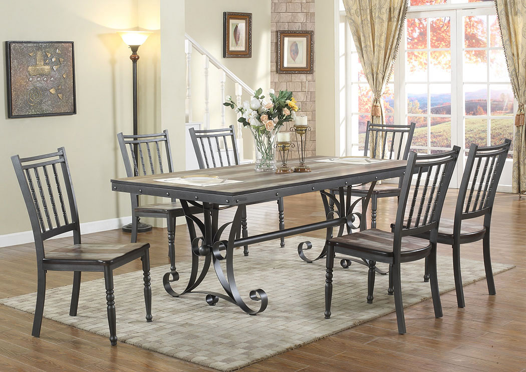 Atlantic bedding and furniture savannah 7 piece dining set for Dining room furniture specials