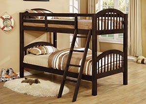 Twin Solid Wood Espresso Bunkbed