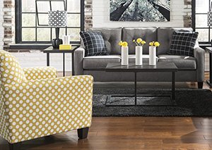 Sofa and Yellow Accent Chair
