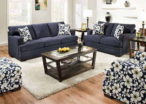 Caprice Midnight Sofa and Loveseat