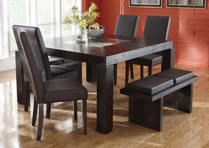 Lucky Brown Dining Table w/ 4 Chairs (Bench Available)