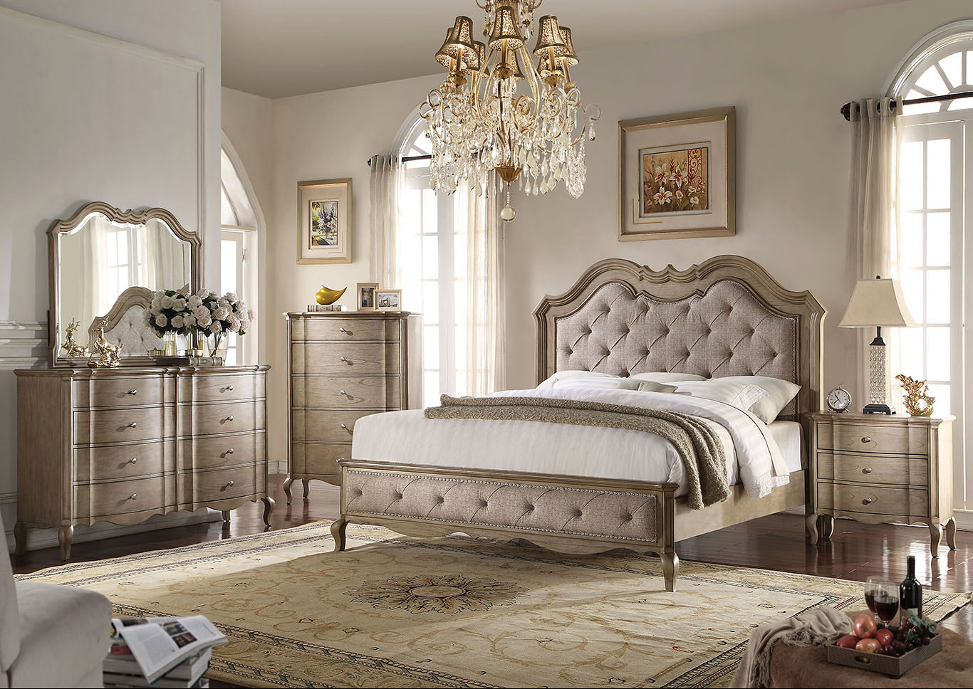 Chelmsford Tan Fabric and Antique Taupe Queen Bed,Acme