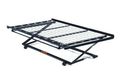 Twin Black Metal PopUP Trundle Bed Frame w/Link Spring
