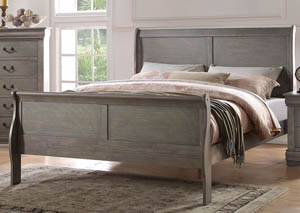 Louis Philippe Antique Gray Queen Bed