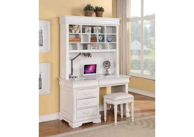 Classique White Computer Desk w/Hutch (With Back Panel)