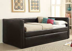 Aelbourne Black PU Daybed w/Trundle