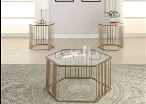 Oaklie Champagne & Clear Glass End Table
