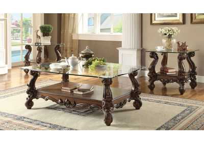 Versailles Cherry Oak & Clear Glass Coffee Table