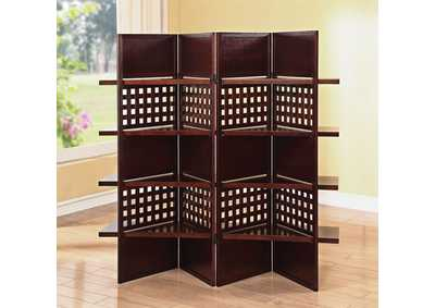 Trudy II Dark Brown 4Panel Wooden Screen