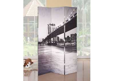 Trudy Bridge Scenery 3Panel Wooden Screen