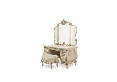 Platine de Royale Champagne Vanity/Desk with Glass Top & Mirror