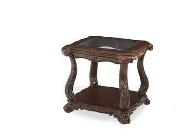 Palace Gates Royal Sable End Table w/Glass-Insert Top