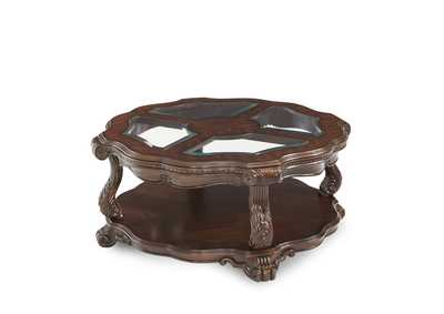 Palace Gates Royal Sable Round Cocktail Table w/Glass-Insert