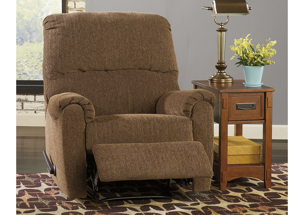 Pranit Walnut Zero Wall Recliner,ABF Signature Design by Ashley