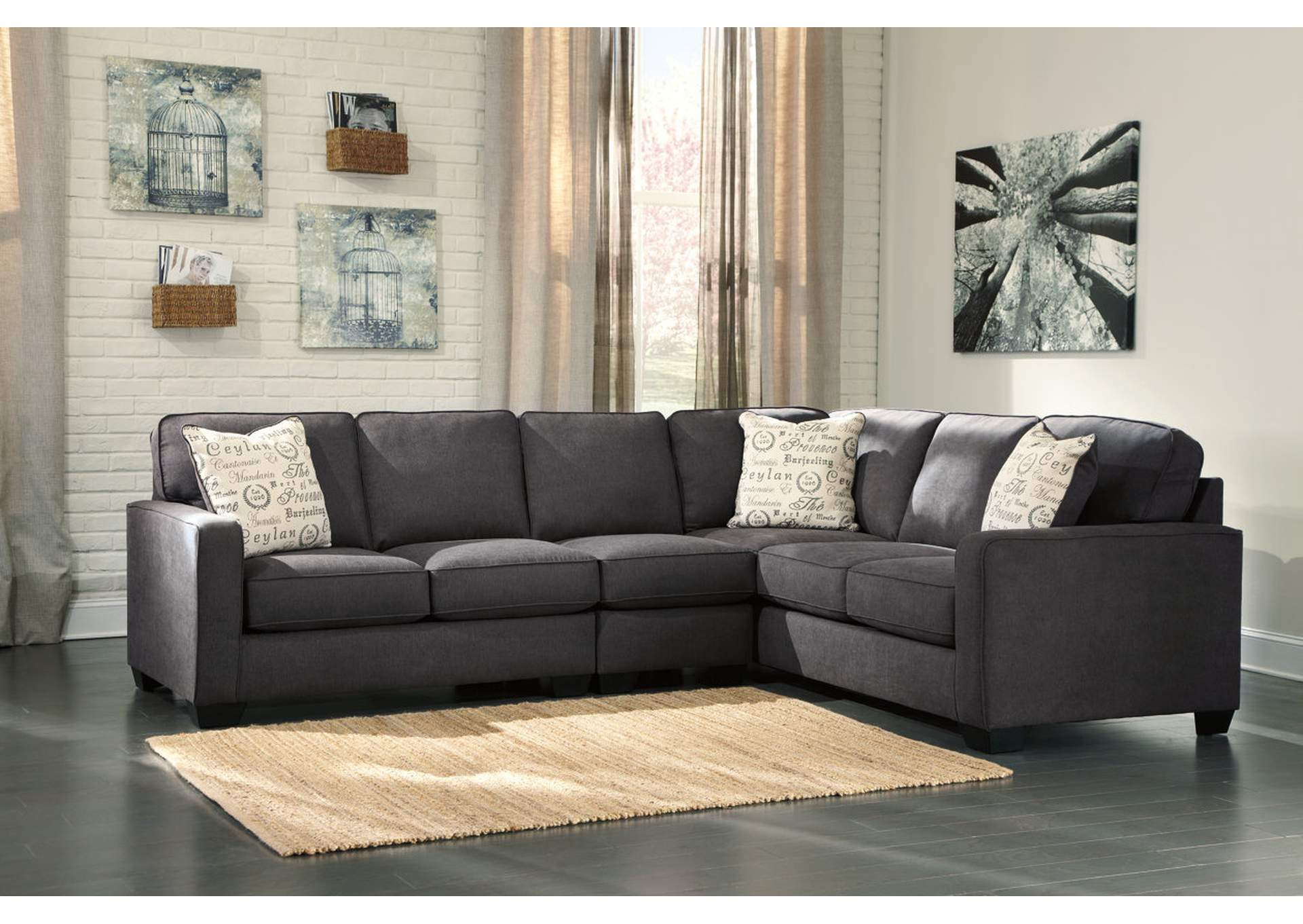 Alenya Right Facing Charcoal Extended Sectional,Signature Design By Ashley