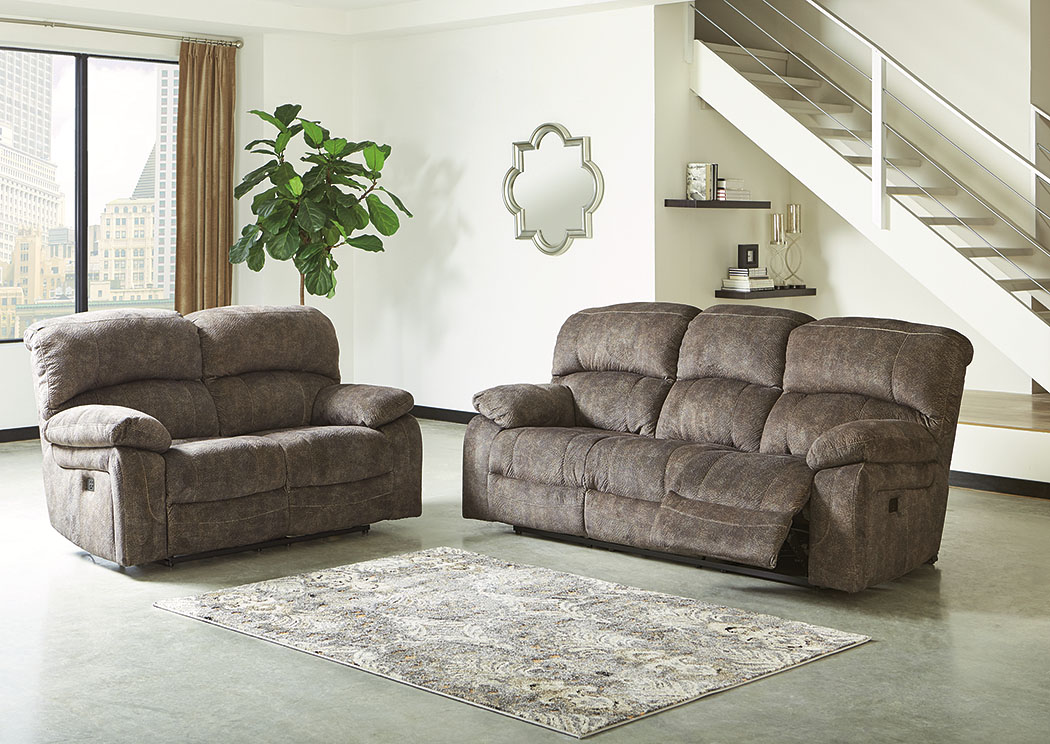 Cannelton Tri-Tone Gray Power Reclining Sofa & Loveseat w/Adjustable Headrest,Signature Design By Ashley