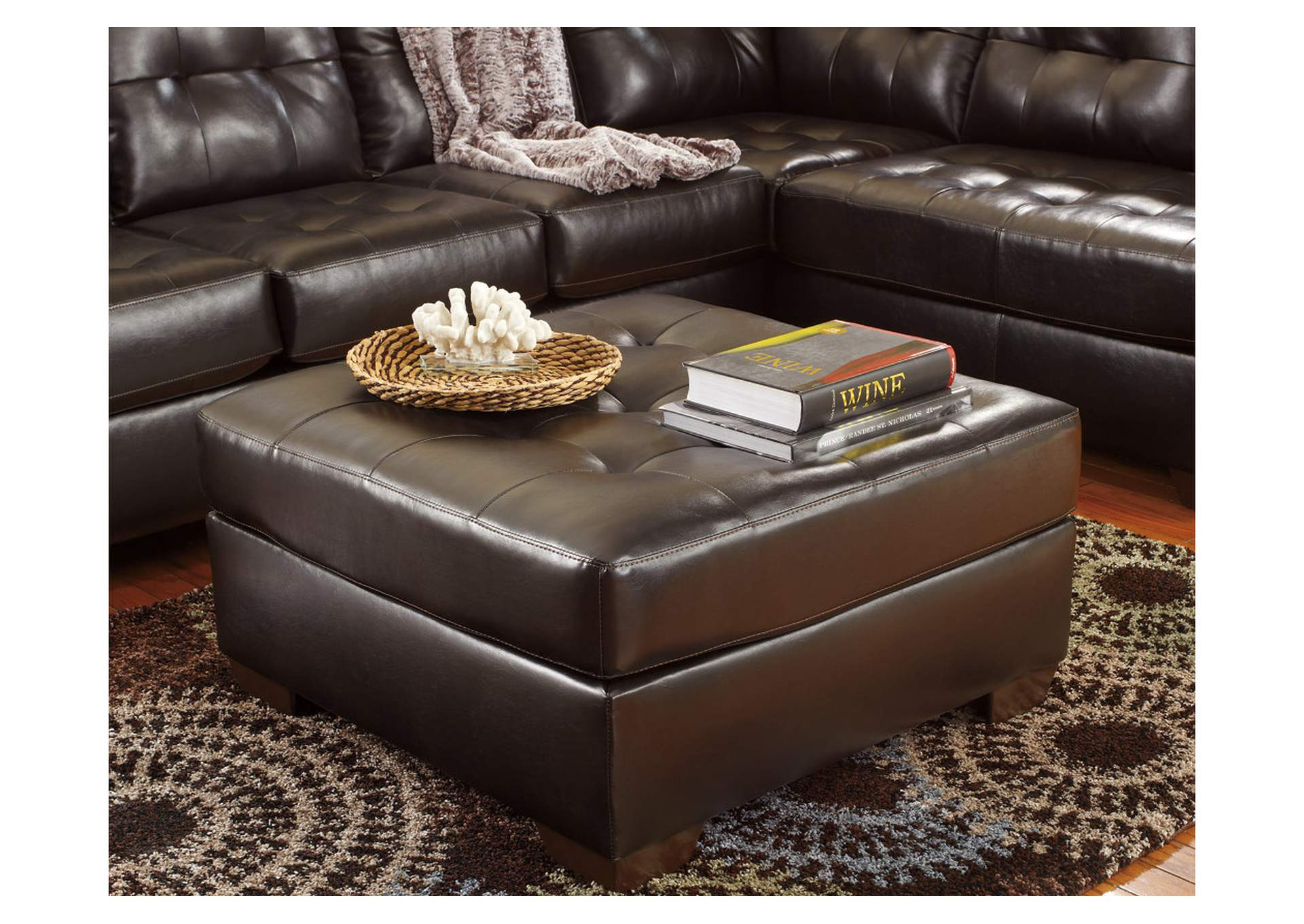Alliston DuraBlend Chocolate Oversized Accent Ottoman,ABF Signature Design by Ashley