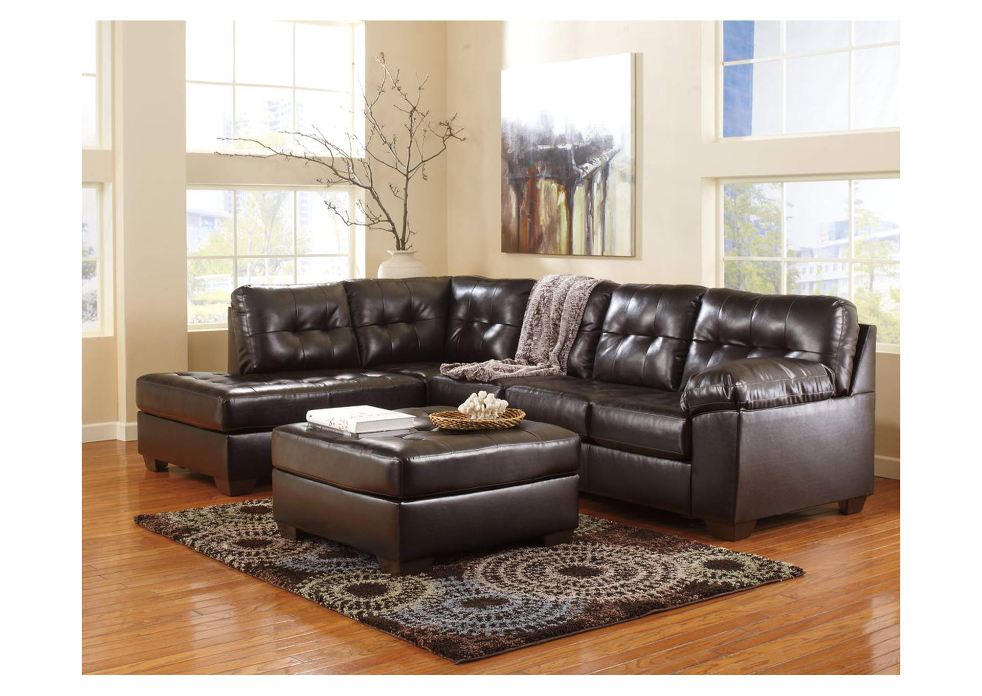 Alliston DuraBlend Chocolate Left Arm Facing Chaise End Sectional & Oversized Accent Ottoman,ABF Signature Design by Ashley