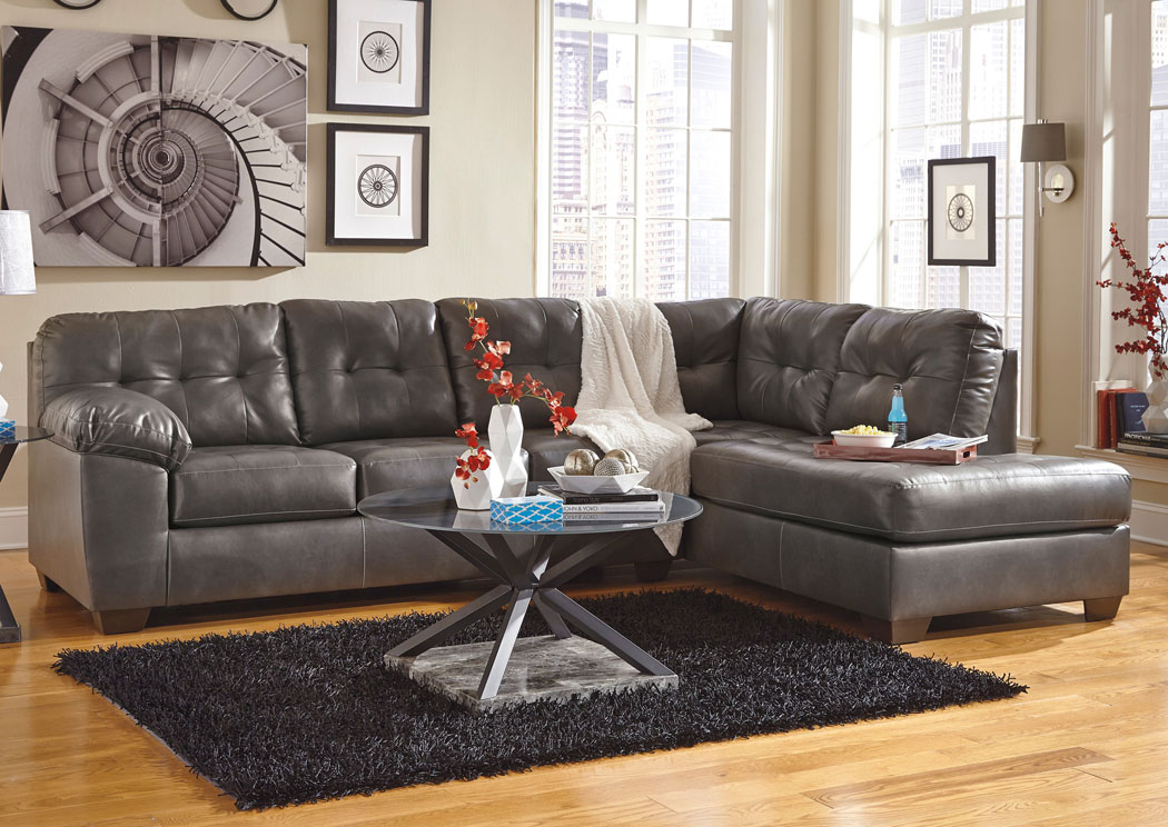 Alliston DuraBlend Gray Right Arm Facing Chaise End Sectional,Signature Design By Ashley