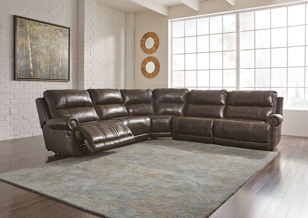 Dak DuraBlend Antique Left Facing Sectional w/Right Facing Wall Recliner,Signature Design By Ashley
