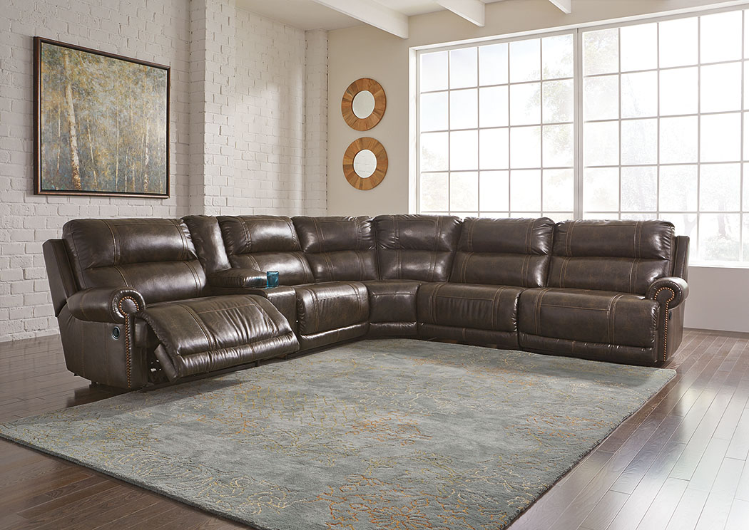 Dak DuraBlend Antique Left Facing Sectional w/Console and Right Facing Wall Recliner,Signature Design By Ashley