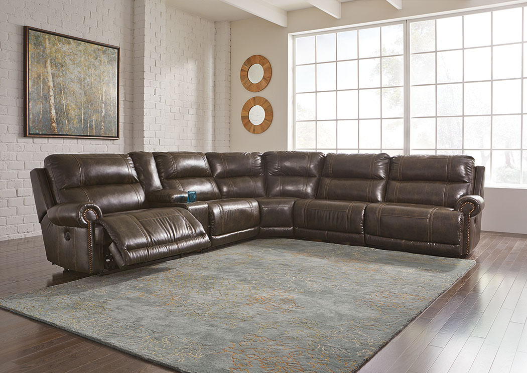Dak DuraBlend Antique Left Facing Zero Wall Power Recliner Sectional w/Console,Signature Design By Ashley