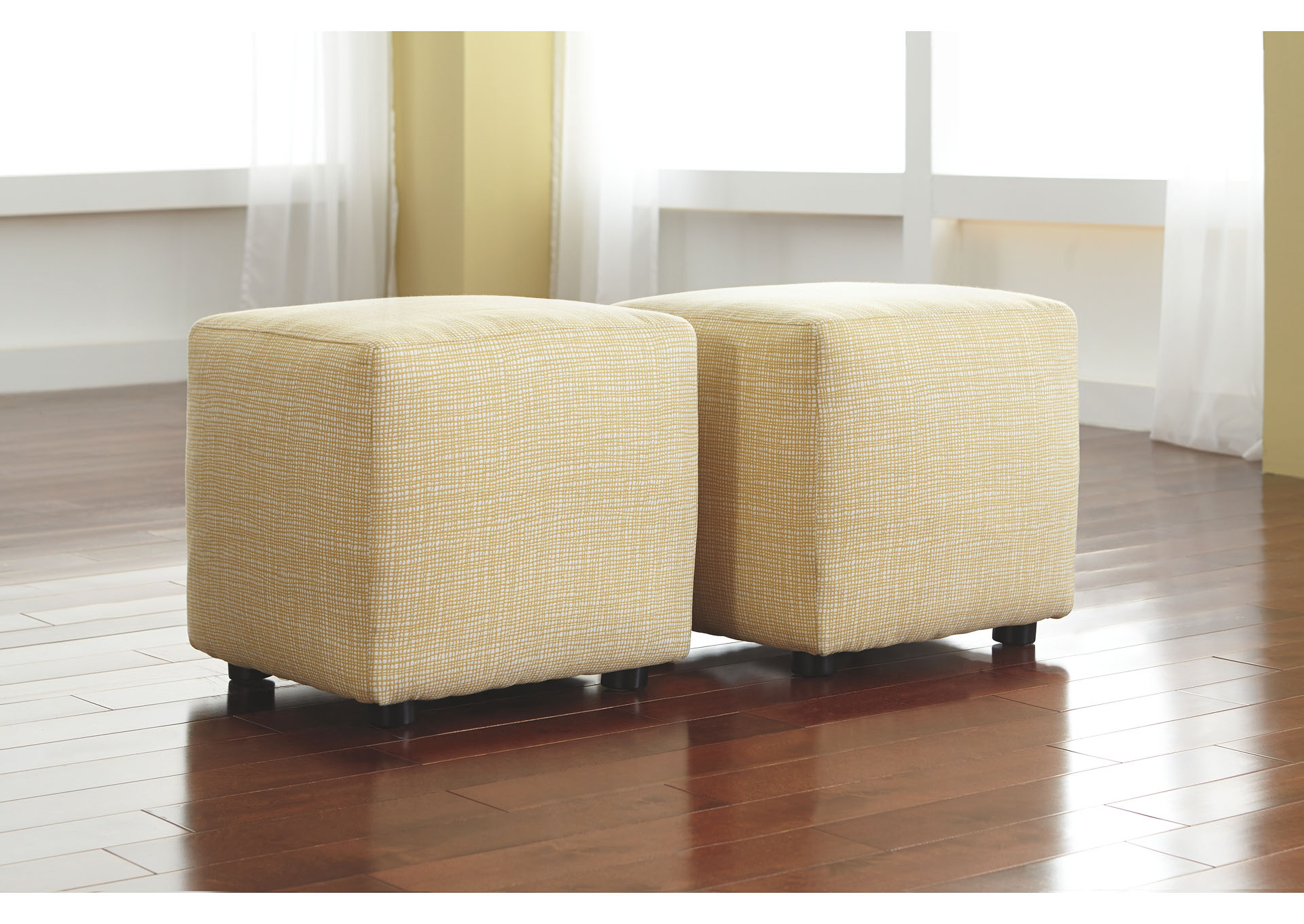 Chamberly Alloy Cube Ottoman (Set of 2),Signature Design By Ashley