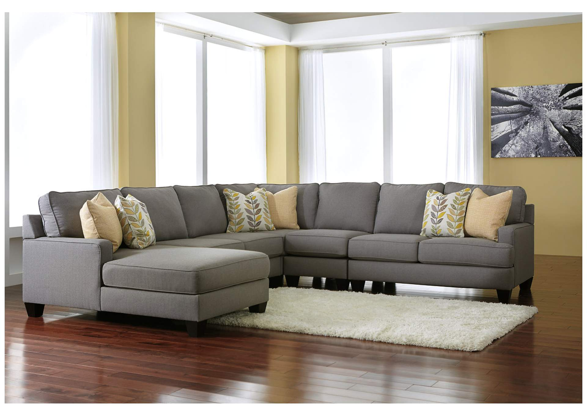 Rooms unlimited chamberly alloy left arm facing chaise end for Brown leather chaise end sofa