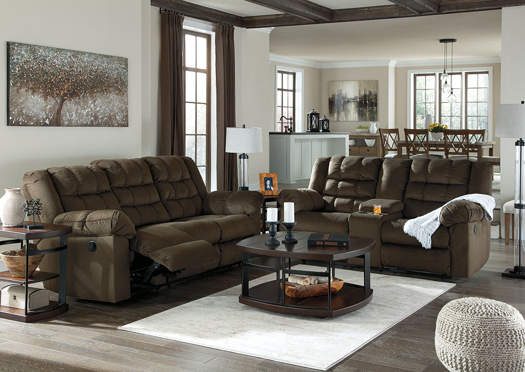 Mort Umber Reclining Sofa and Loveseat w/ Console,ABF Signature Design by Ashley