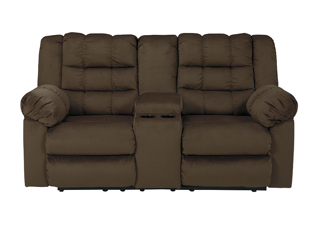 Mort Umber Double Reclining Loveseat w/Console,Signature Design by Ashley