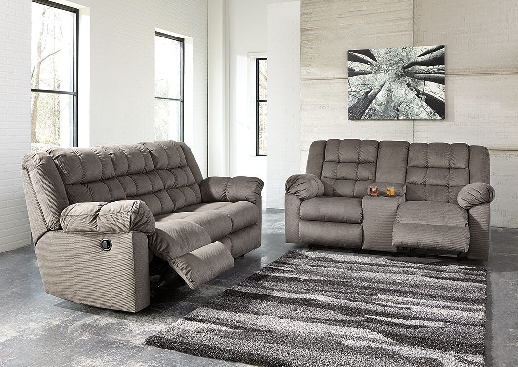 Mort Charcoal Reclining Sofa And Loveseat W/Console,Signature Design By  Ashley
