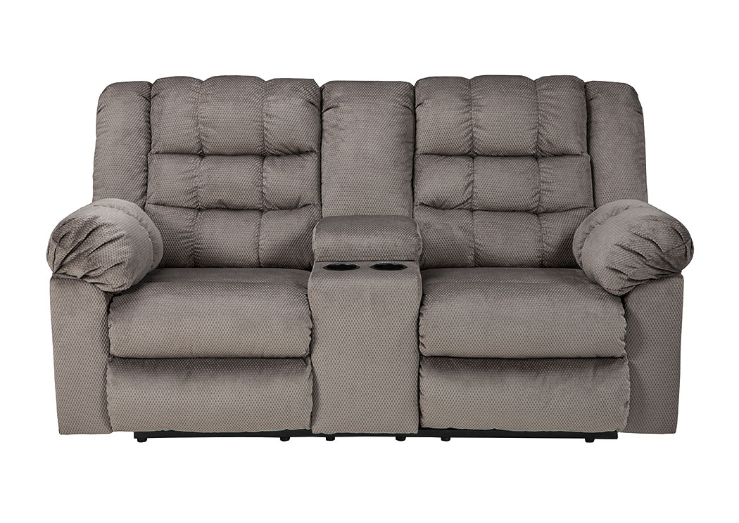 Mort Charcoal Double Reclining Loveseat w/Console,Signature Design by Ashley