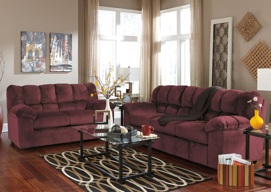Julson Burgundy Sofa LoveseatSignature Design By Ashley