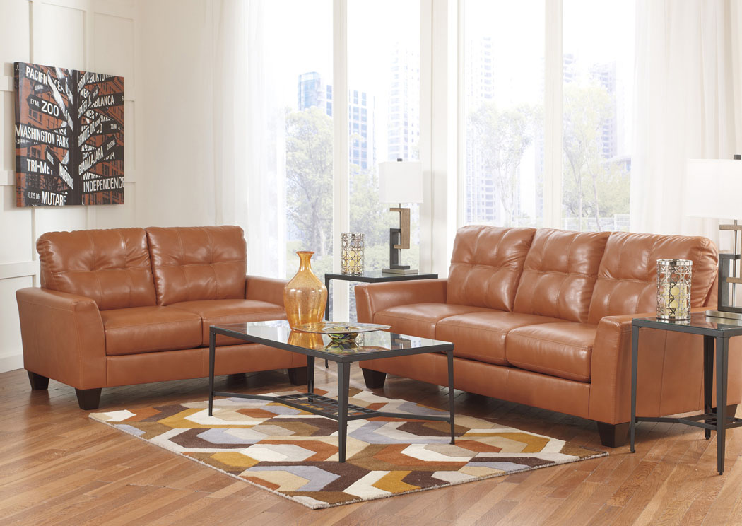 Paulie DuraBlend Orange Sofa & Loveseat and Chaise,Benchcraft