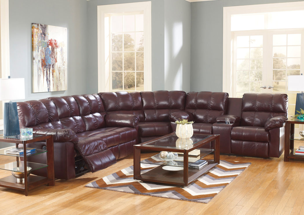 Kennard Burgundy Reclining Sectional,Signature Design by Ashley