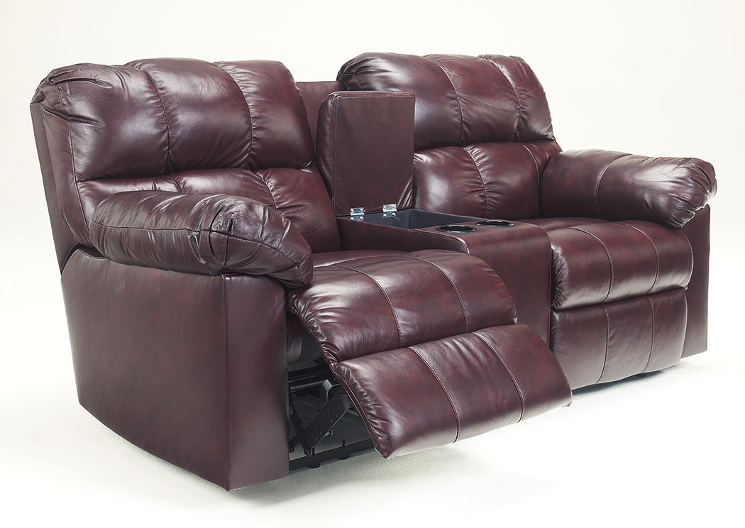 Kennard Burgundy Double Reclining Loveseat w/Console,Signature Design by Ashley