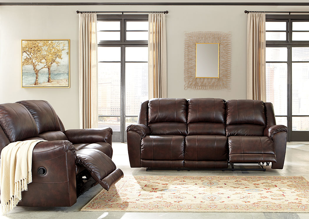 Yancy Walnut Reclining Sofa and Loveseat,Signature Design By Ashley
