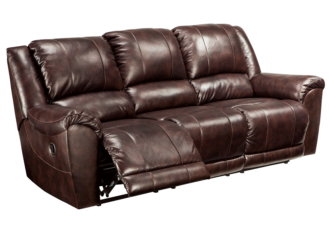 Yancy Walnut Reclining Sofa,Signature Design by Ashley