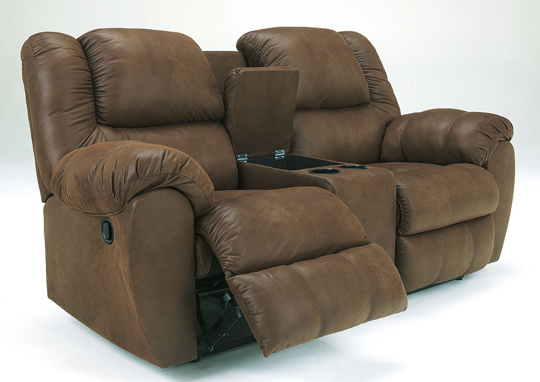 Quarterback Canyon Double Reclining Loveseat w/Console,Benchcraft