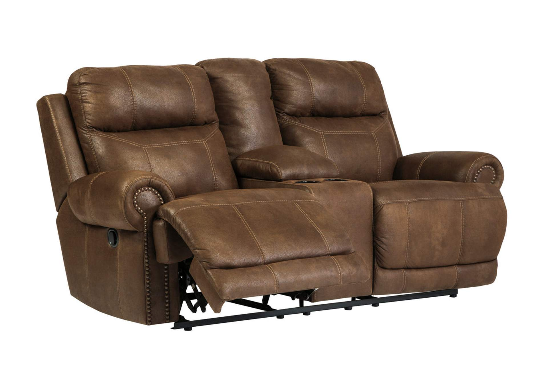 Oak Furniture Liquidators Austere Brown Double Reclining Power Loveseat W Console