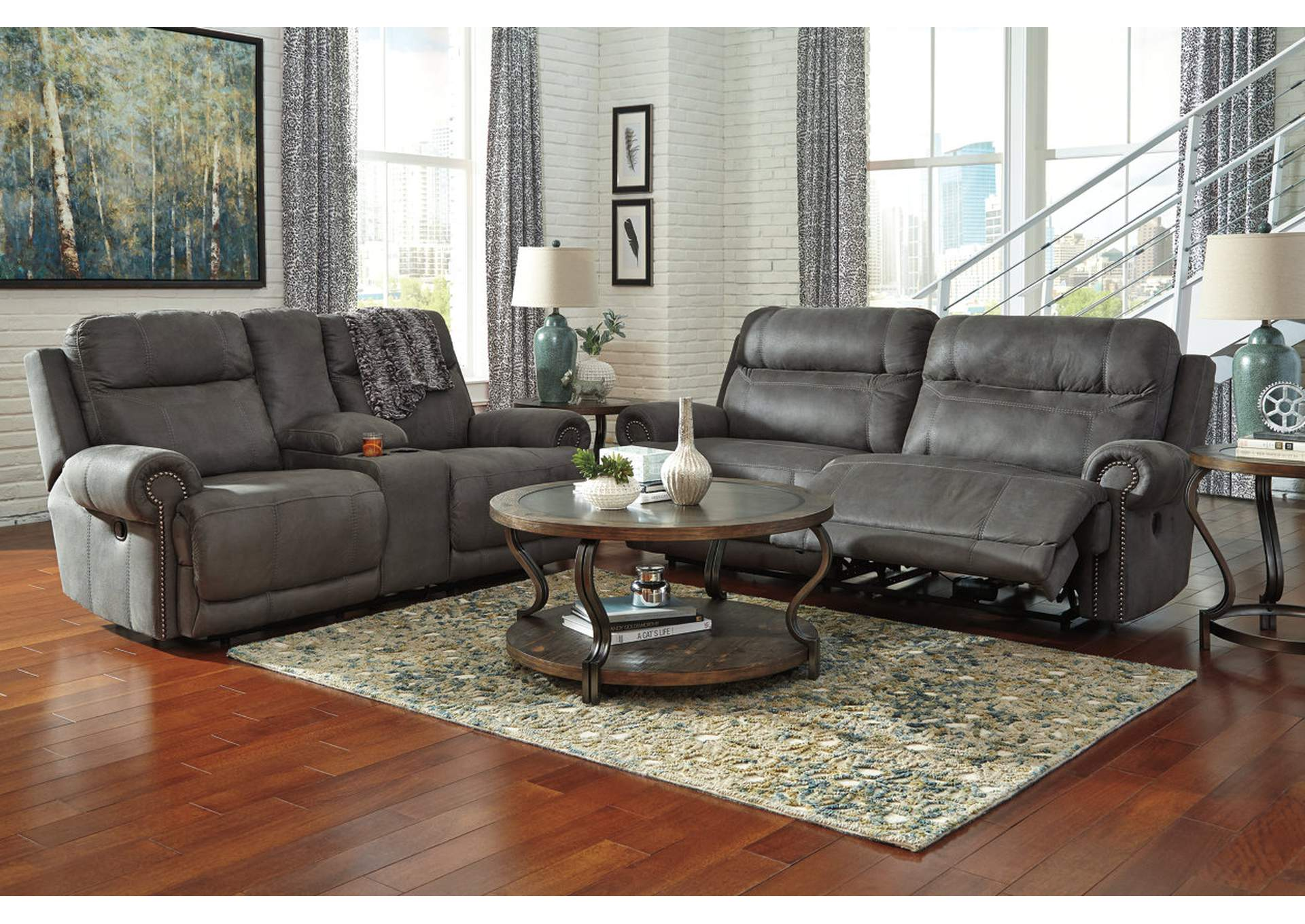 Austere Gray 2 Seat Power Reclining Sofa & Loveseat,Signature Design By Ashley