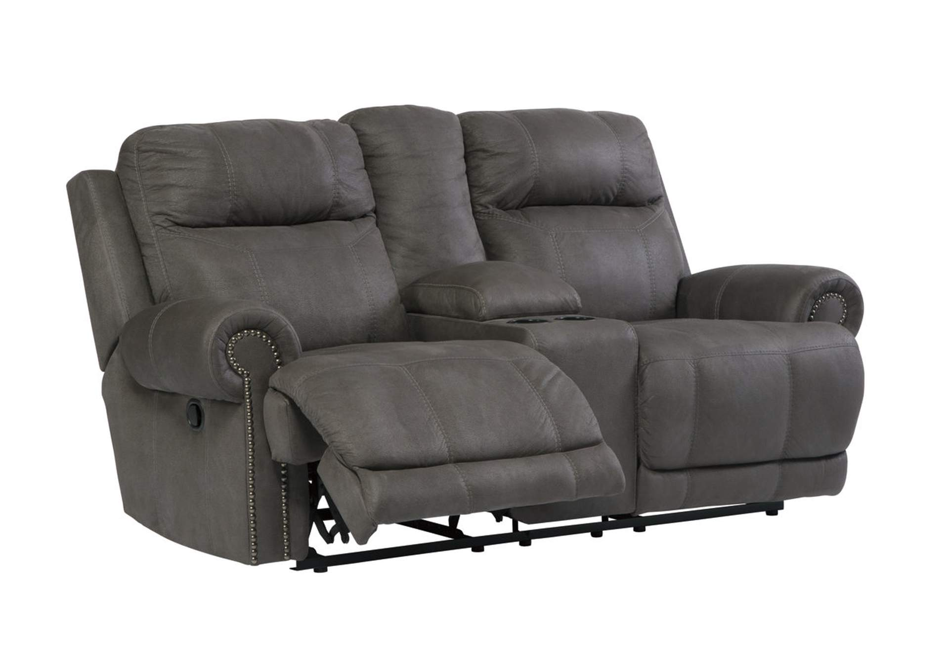 Austere Gray Double Reclining Loveseat w/Console,Signature Design By Ashley