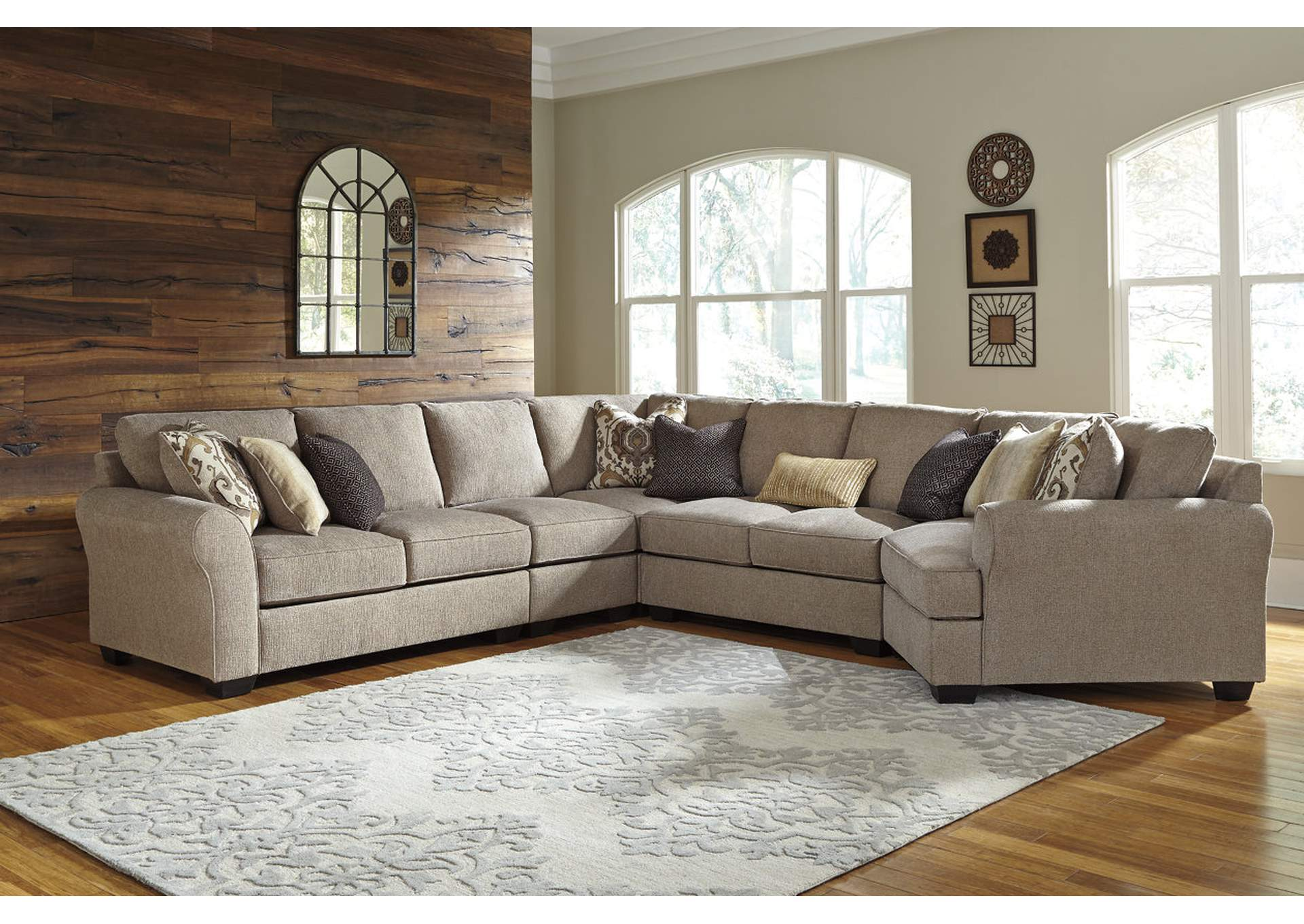 Pantomine Driftwood Extended Sectional w/Right Facing Cuddler,ABF Benchcraft