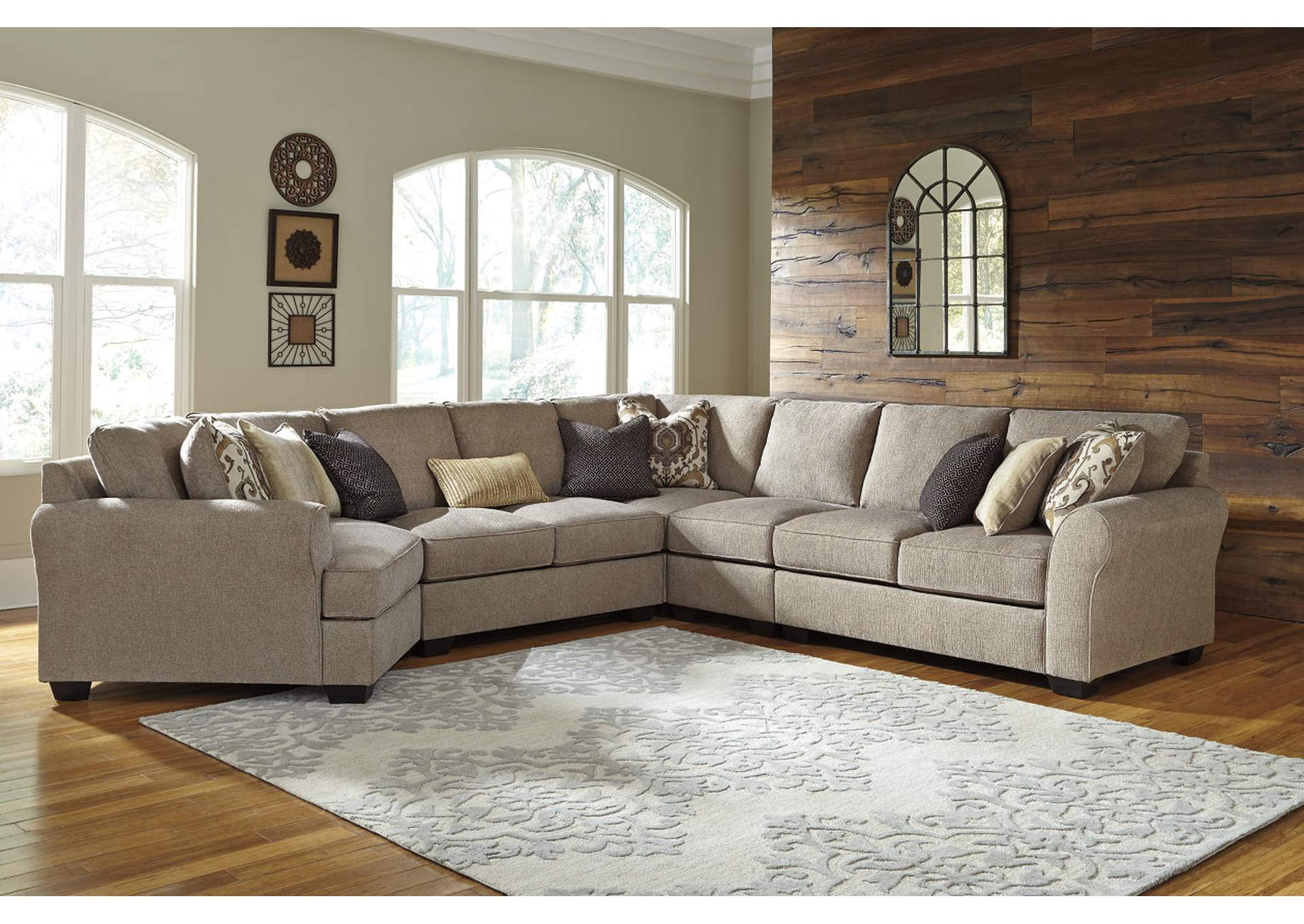 Pantomine Driftwood Extended Sectional w/Left Facing Cuddler,ABF Benchcraft