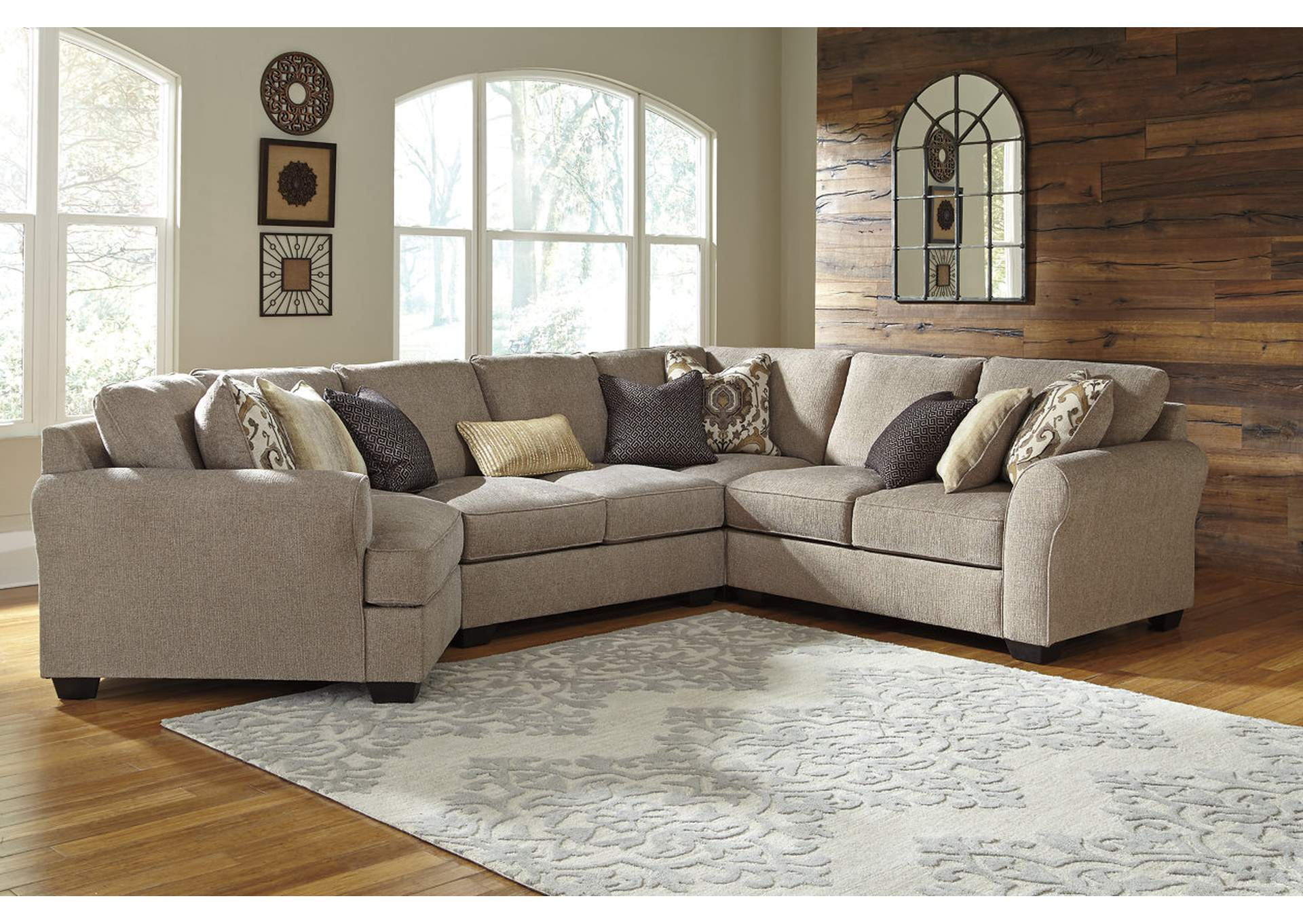 Pantomine Driftwood Sectional w/Left Facing Cuddler ,ABF Benchcraft