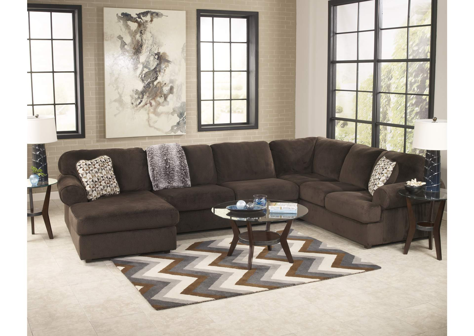 Jessa Place Chocolate Left Facing Chaise Sectional,Signature Design By Ashley