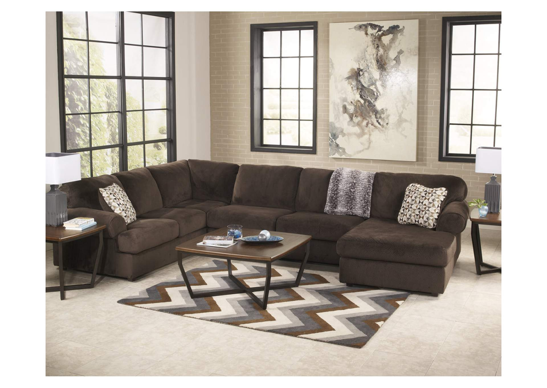 Jessa Place Chocolate Right Facing Chaise Sectional,ABF Signature Design by Ashley