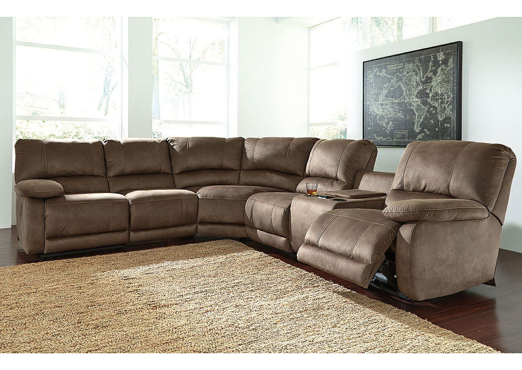 Seamus Taupe Sectional w/Left Facing Zero Wall Power Recliner,Signature Design by Ashley