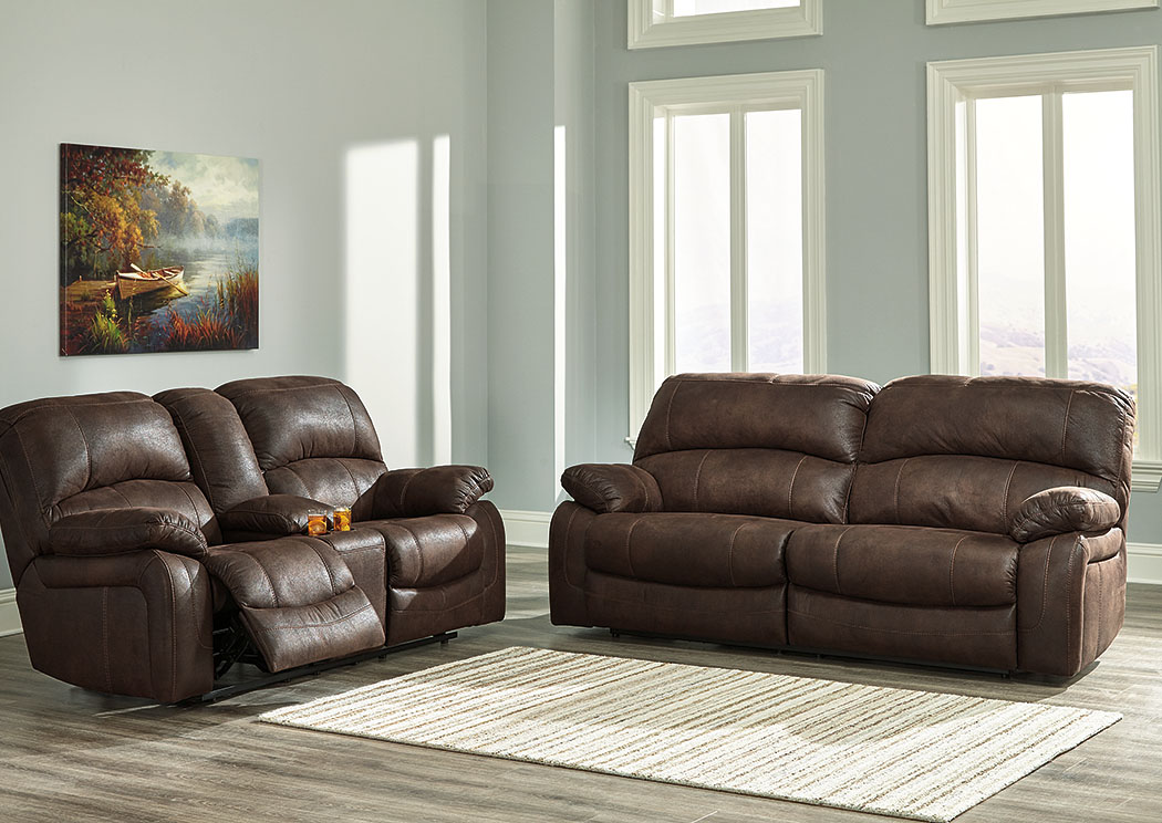Zavier Truffle 2 Seat Reclining Sofa and Loveseat w/Console,Signature Design By Ashley